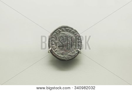 Merida, Spain - August 25th, 2018: Roman Emperor Diocletian Coin. National Museum Of Roman Art In Me