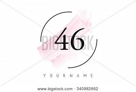 Number 46 Watercolor Stroke Logo With Circular Shape And Pastel Pink Brush Vector Design