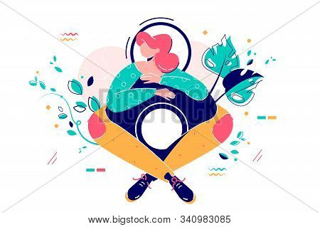 Woman And Number Eight Vector Illustration. Female Sitting Wrapped Legs Around Number Eight Flat Sty