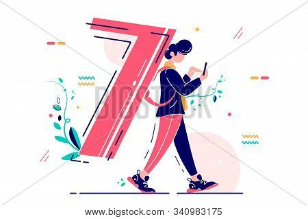 Man Carrying Number Seven As Backpack Vector Illustration. Person Walking Using Smartphone With Ciph