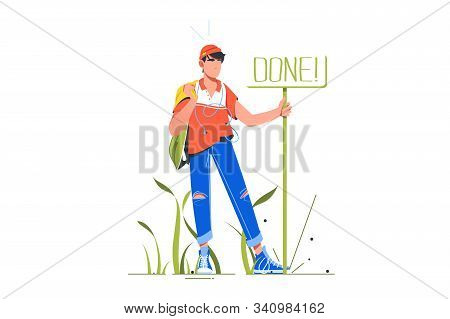 Man Standing Near Sign Done Vector Illustration. Symbol For Completed Things And Task Flat Style Des