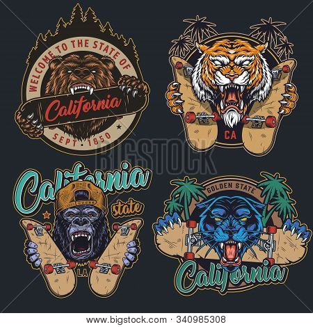Vintage Angry Animals And Skateboarding Prints With Aggressive Ferocious Grizzly Tiger Gorilla Black