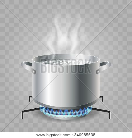 Cooking Boiling Water. Saucepan Boil For Food Cooking, Cartoon Kitchen Pan With Boiled Water On Hot