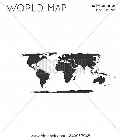 World Map. Globe In Nell-hammer Projection, Plain Style. Modern Vector Illustration.