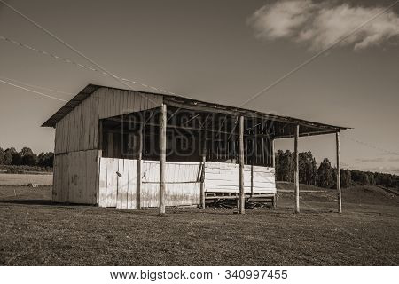 Old Wooden Livestock Shack On Rural Lowlands Called Pampas In A Ranch Near Cambara Do Sul. A Small C