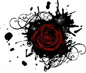 Splotched grunge red rose with black stains and Butterflies poster