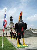 Huge chicken statue in front of the King Thaksin Memorial Ayuthaya Thailand. poster