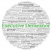 Executive Demeanor concept in word tag cloud on white background poster