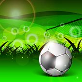 Illustration of a football stadium with glossy soccer ball and goal post on nature background. EPS 10. poster