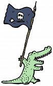 cartoon crocodile waving pirate flag poster