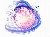 Interplay of gears clock elements and abstract design elements on the subject of scheduling temporal and time related processes deadlines progress past present and future poster