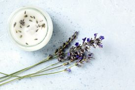 Lavender-scented Candle With Lavender Flowers And A Place For Text. Zero Waste Christmas Concept, A