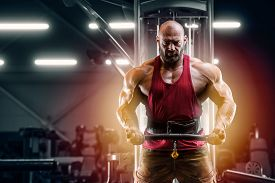 Bodybuilder Handsome Strong Athletic Man Pumping Up Biceps