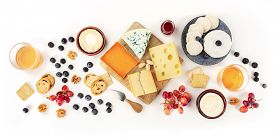 Cheese Board, A Flat Lay Panorama On A White Background. Blue Cheese, Red Leicester, Emmental, Goat