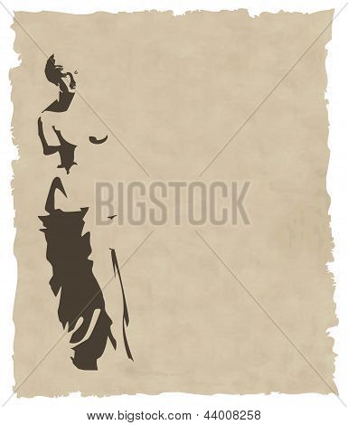 Vector venus silhouette on old paper