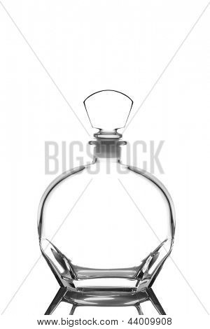Closeup of a glass whiskey decanter isolated on white with reflection.