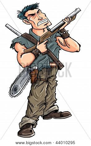Cartoon hero with shotgun ready to fight zombies, isolated on white