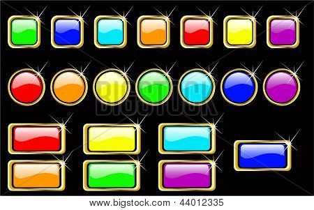 Vector rainbow glossy buttons set