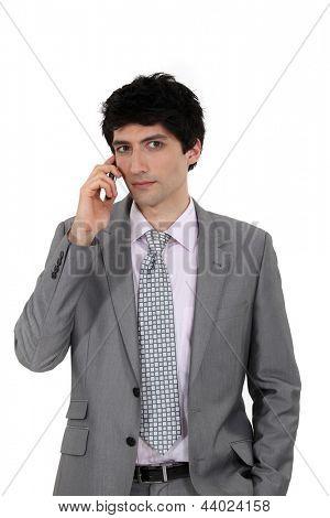 Businessman making telephone call