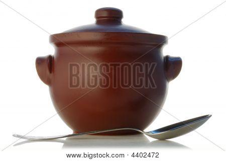 Brown Saucepan From Heatproof Ceramics