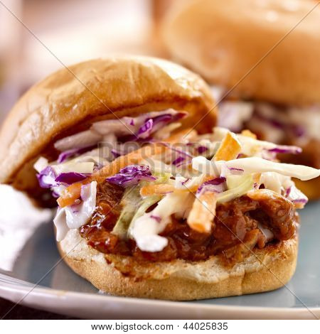 bbq pulled pork sandwich close up with cole slaw
