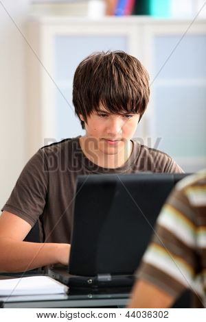 Adolescent boy working on his laptop