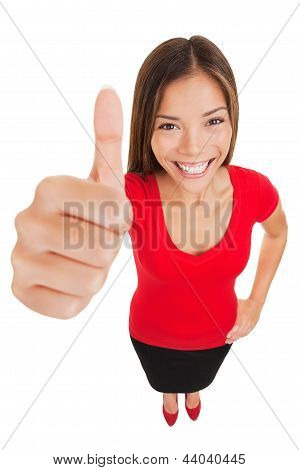 Thumbs Up Woman Standing In Full Body Length