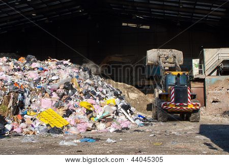 Rubbish Piled Up At A Waste Management Centre