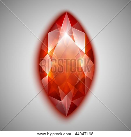 Marquise cut red diamond icon - eps10