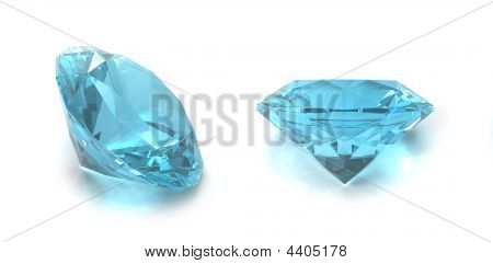 Sky Blue Topaz gems isolated on white background. Image for catalogues gem sites and other... poster