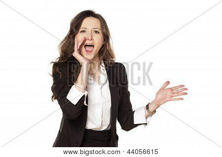 happy woman shouting