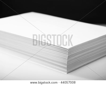 Stack of white printer and copier paper poster