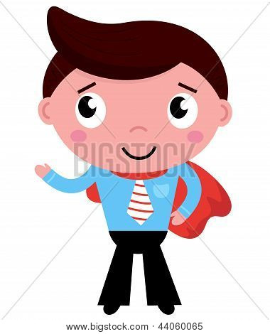 Cartoon Superhero Businessman In Red Cape Isolated On White