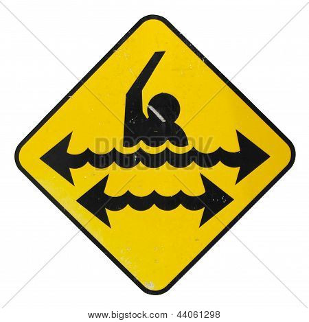 Isolated Dangerous Swimming Sign