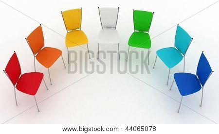 Gruppe von Stühlen kostet eine halbrunde