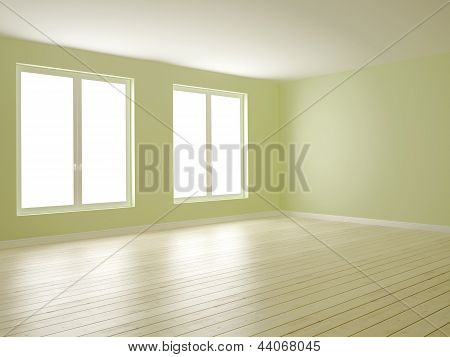 Green Room With Two Windows
