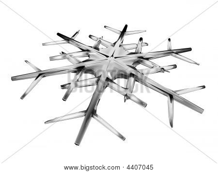 Closeup View Of Icy Snowflakes