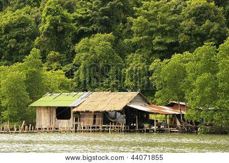 Stilt houses Ream National Park Cambodia Southeast Asia poster