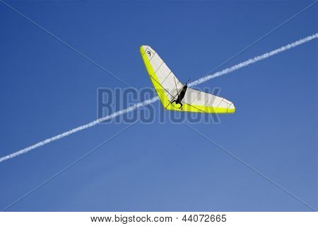 Hang Glider Against Deep Blue Sky
