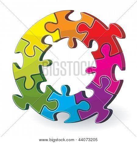 Jigsaw puzzle wheel. Vector.