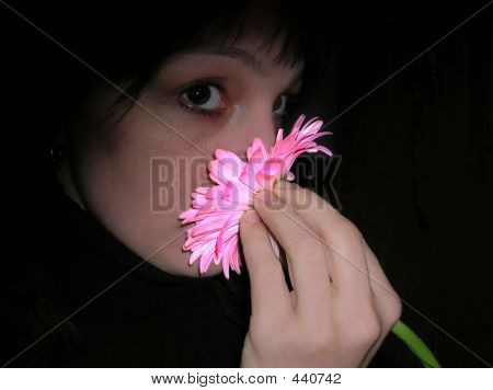 Woman And Pink Flower