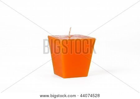 Orange Trapezoid Candle With A Wick