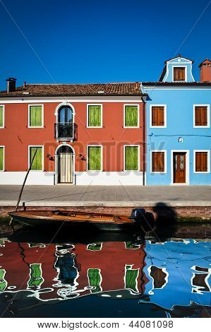 Canal, Boat And Houses, Burano, Italy