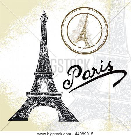 hand drawn Eiffel tower