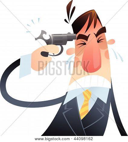 Desperate Man Having A Gun In His Head