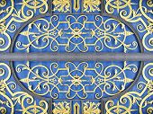 Oriental wrought iron door ornament in blue and gold poster
