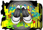 abstract gym shoes on a colorful background poster