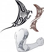 Maori styled tattoo pattern in shape of manta ray profile. Fit for shoulder and forearm. Raster image. Find editable version in my portfolio. poster