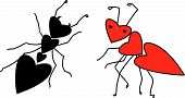 vector illustration of two ants in love poster