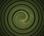 Abstract hypnotic fractal composition with green ripples poster